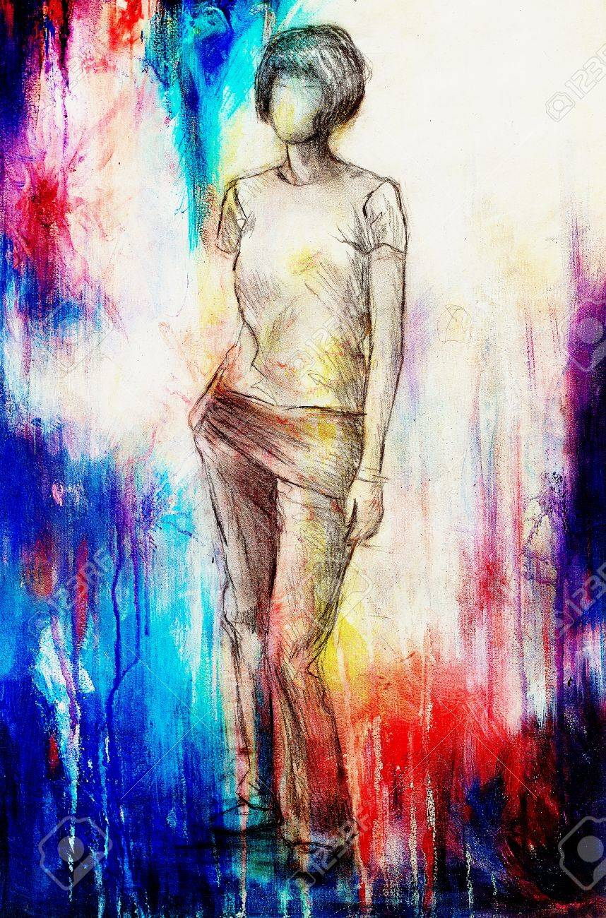 Standing figure woman pencil sketch on paper watercolor background stock photo 55750409