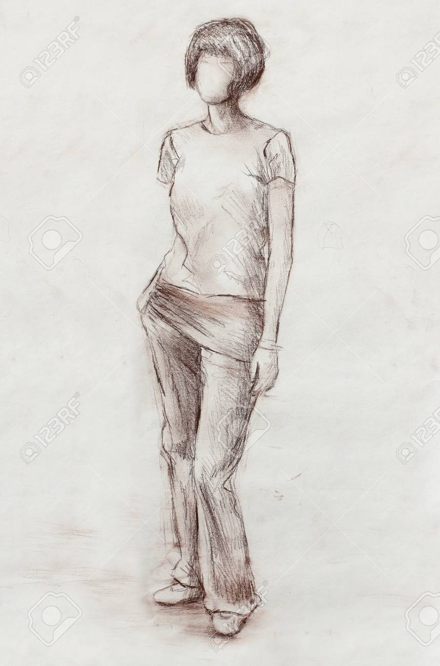 Standing figure woman pencil sketch on paper watercolor background stock photo 55750410