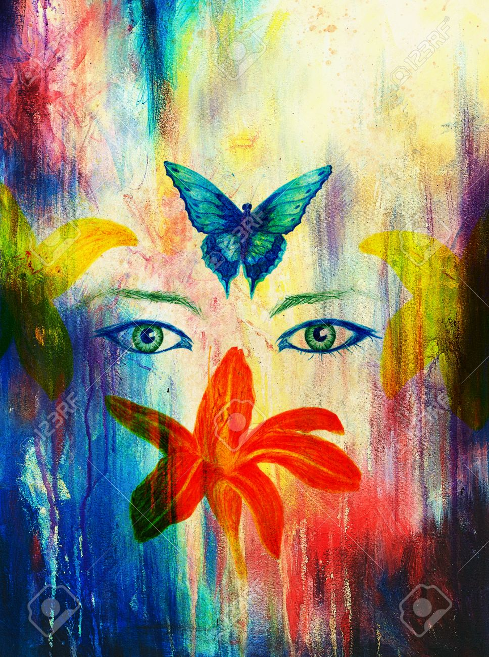 Woman Eyes With Flower And Butterfly Color Pencil Drawing Eye