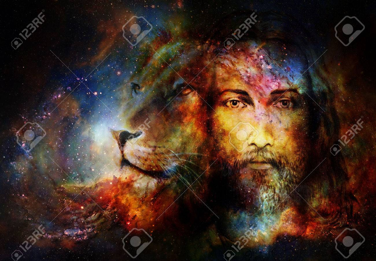 painting of Jesus with a lion in cosimc space, eye contact and lion profile portrait - 55750568