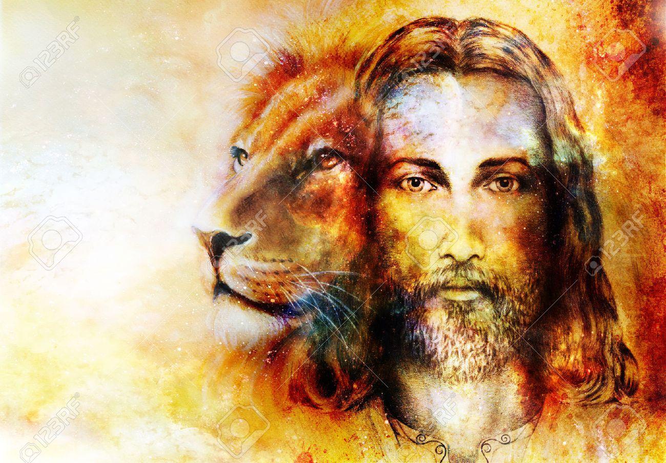 Pintura De Jesús Con Un León, En El Hermoso Color De Fondo Con Toque ...