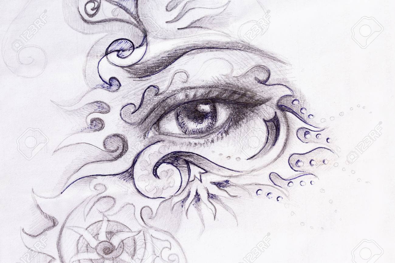 Line Drawing Eye : Woman eye with ornament pencil drawing contact stock photo