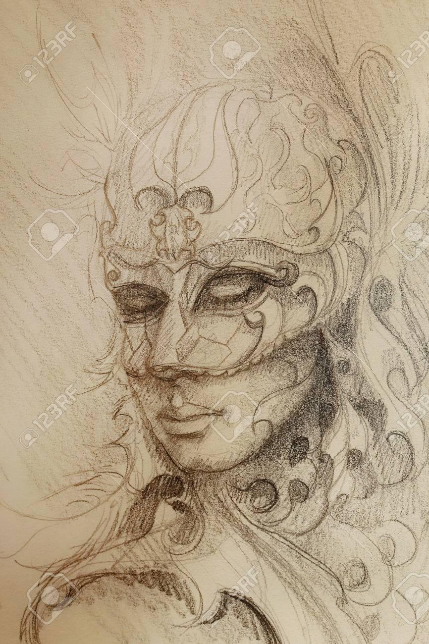 Dessin Au Crayon Sur Papier Femme Masque Venitien Ornementale