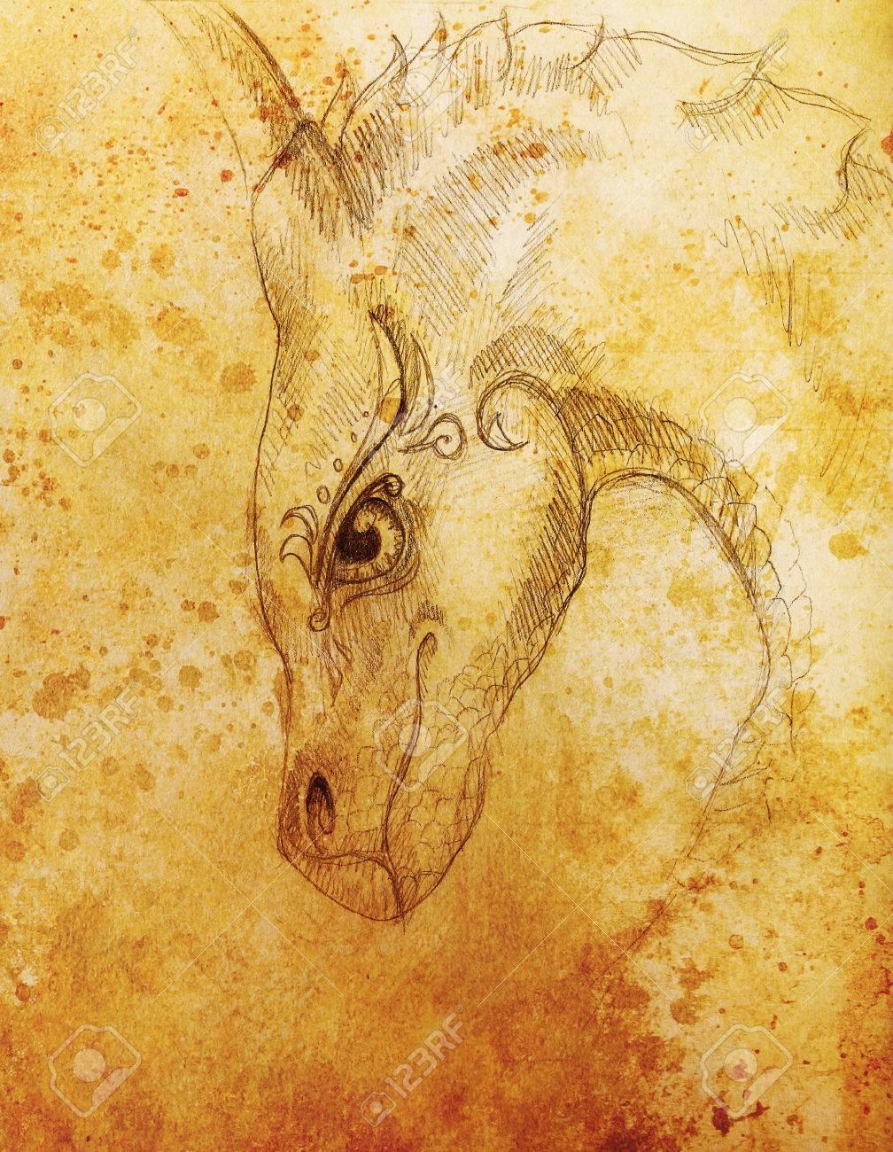 Lápiz De Dibujo De Dragón Y Sepia Color De Fondo Abstracto