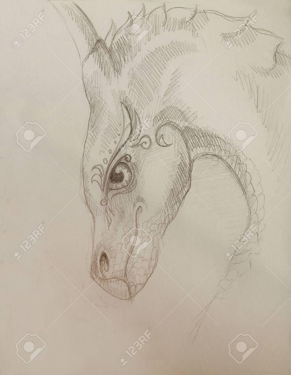 Lápiz Dragón Dibujo Y Color De Fondo Abstracto