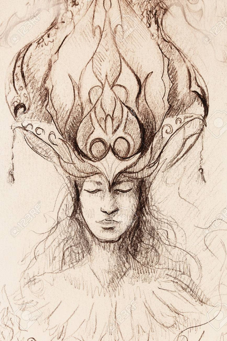 Man and ornamental crown pencil sketch on paper