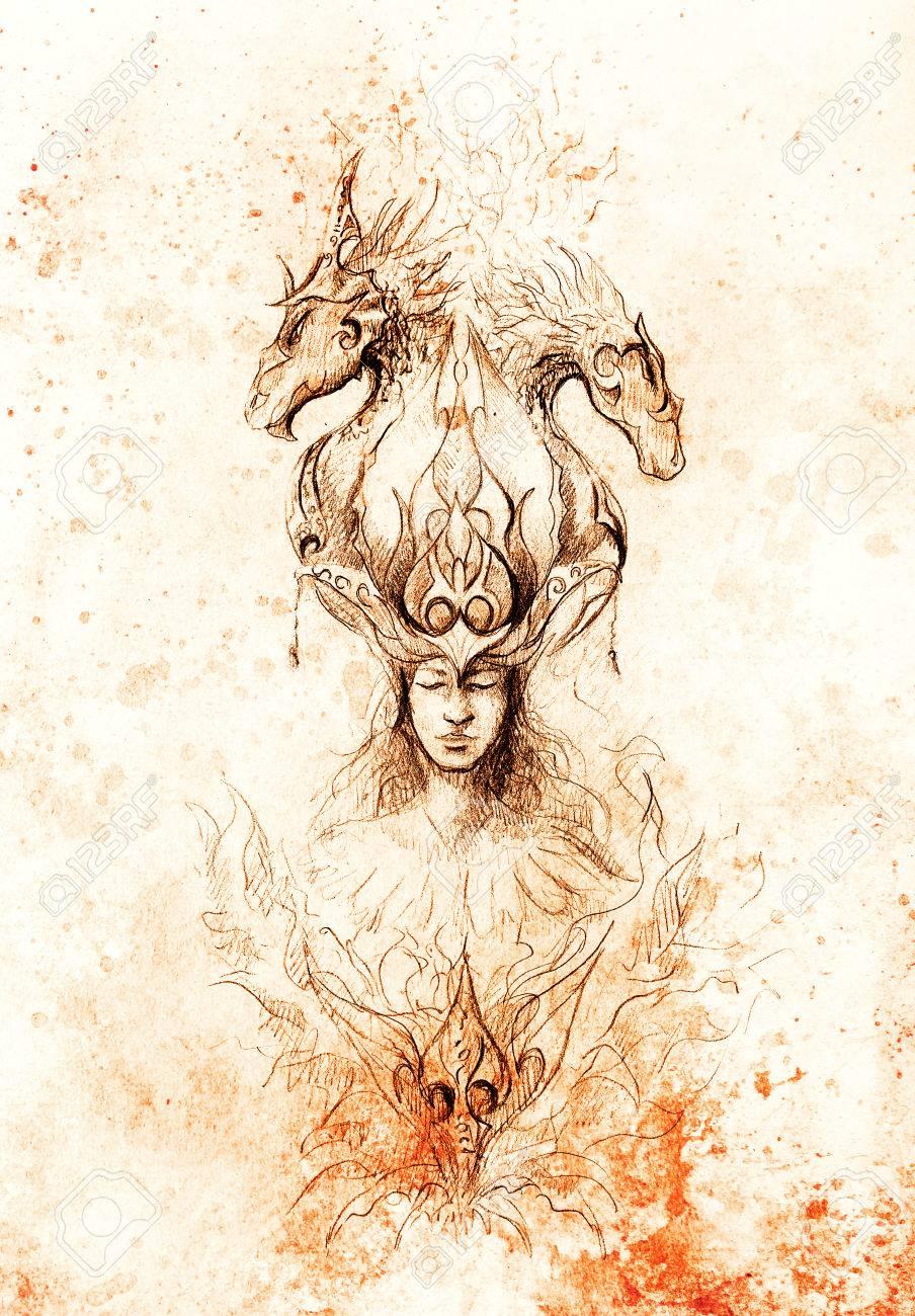 Hombre En El Fuego Místico Y Dragones Ornamentales Dibujo A Lápiz