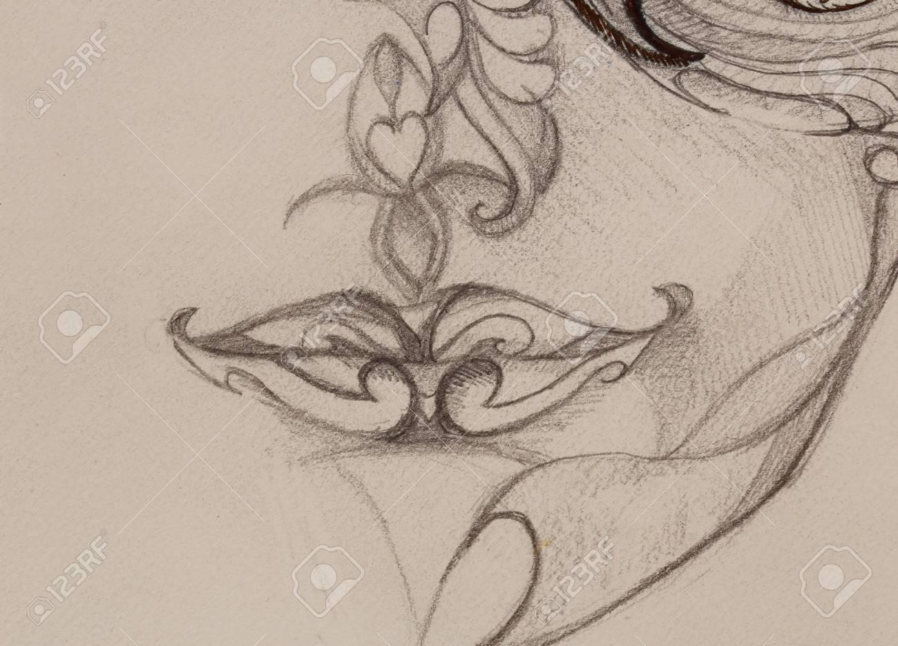 Dessin Levres Femme D Ornement Croquis Au Crayon Sur Papier Sepia