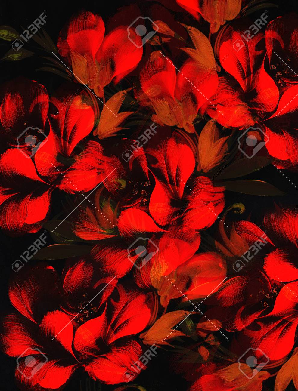 Red Flower On Black Background Painting And Computer Collage Stock Photo Picture And Royalty Free Image Image 57108445