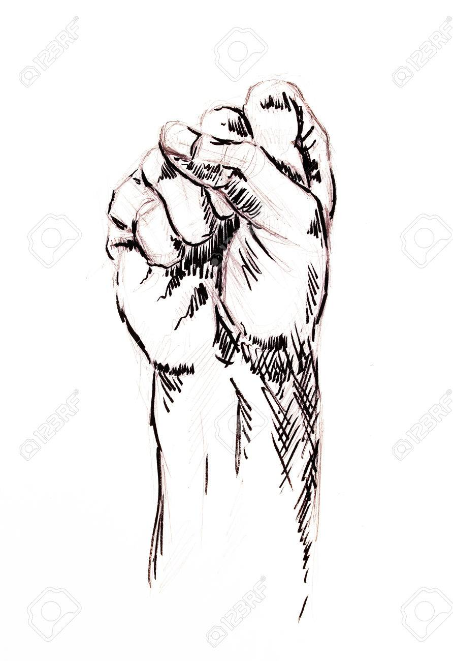 Fist drawing pencil sketch on white paper stock photo 57111071