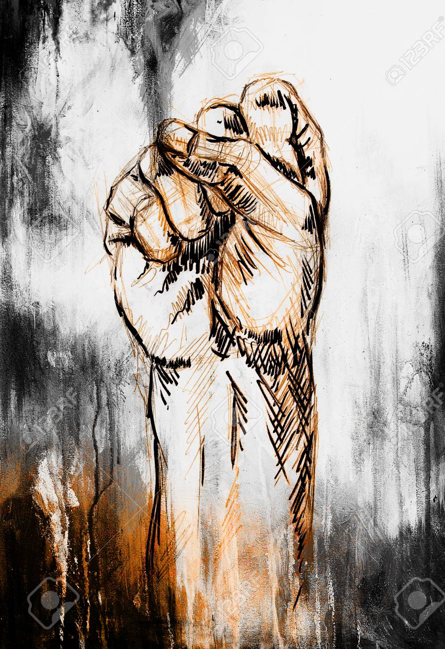 Fist drawing pencil sketch on paper color effect stock photo 57111122