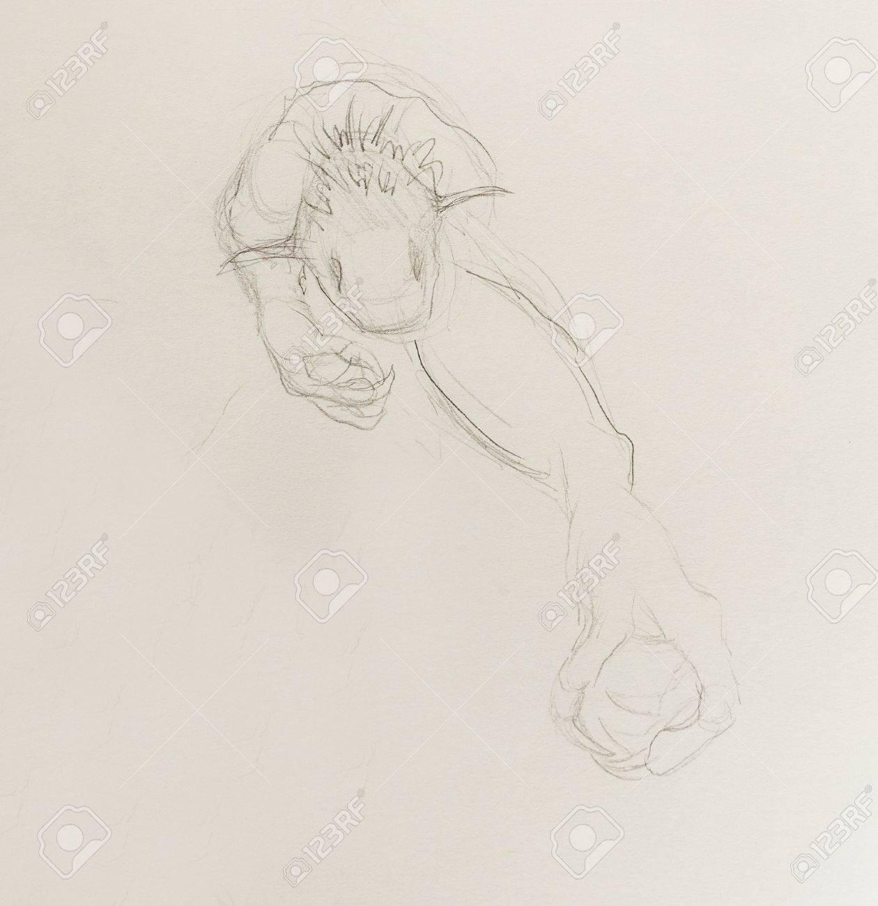 Dibujo De Monstruo Dibujo A Lápiz Sobre Papel Dibujar A Mano Original