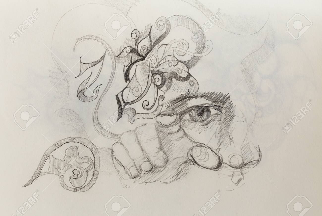 Man eye nose and hand collage pencil sketch on paper stock photo