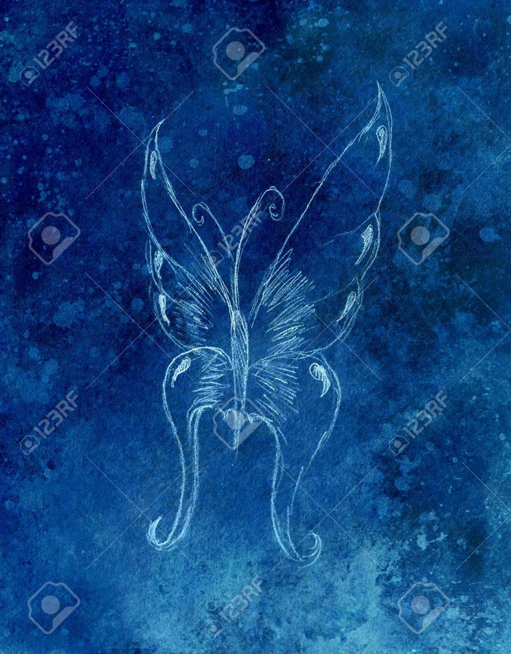 Ilustración De Una Mariposa Dibujo De Lápiz El Color De Fondo