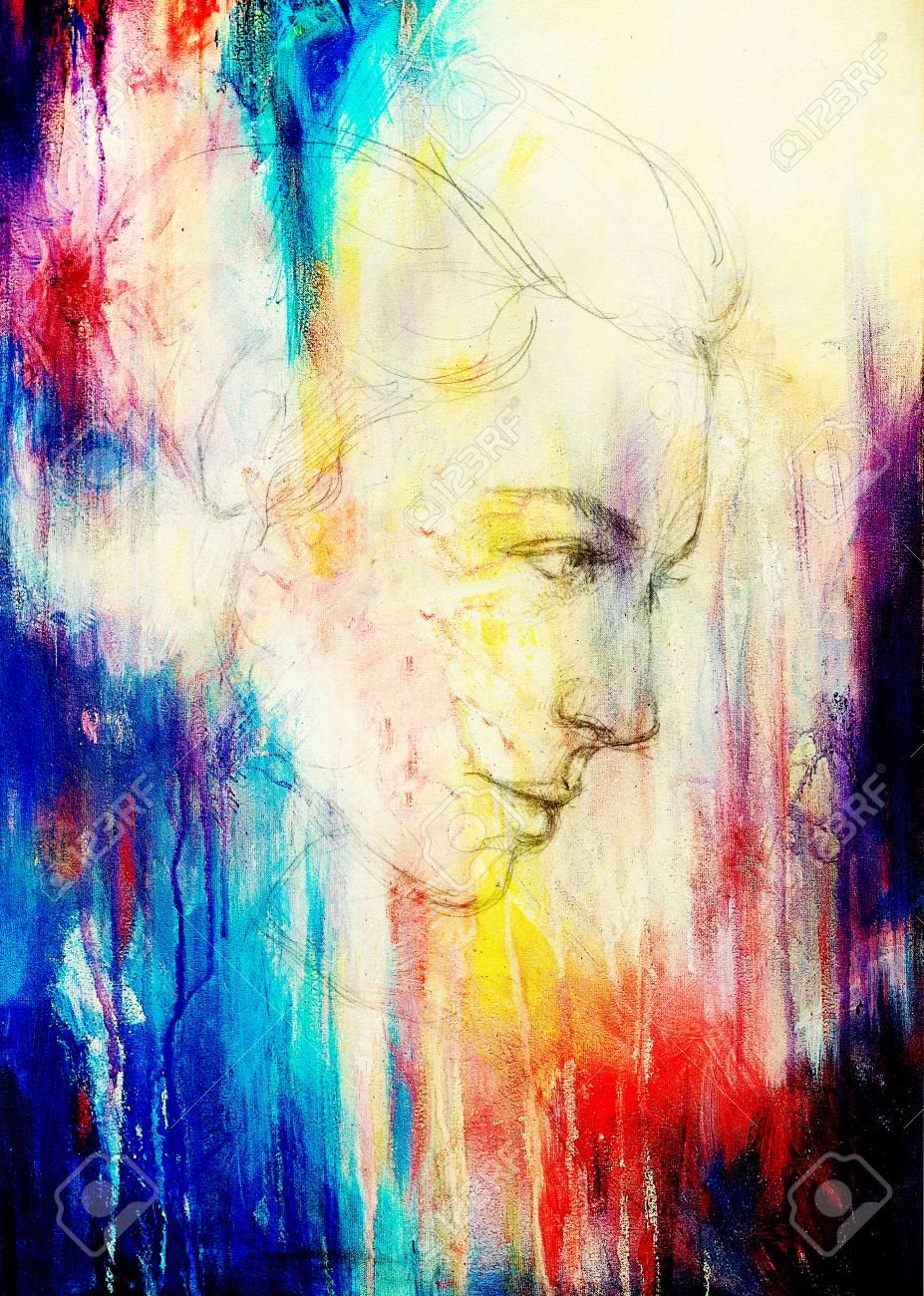 Cara Hermosa Niña De Dibujo Del Arte Y Color De Fondo Fotos