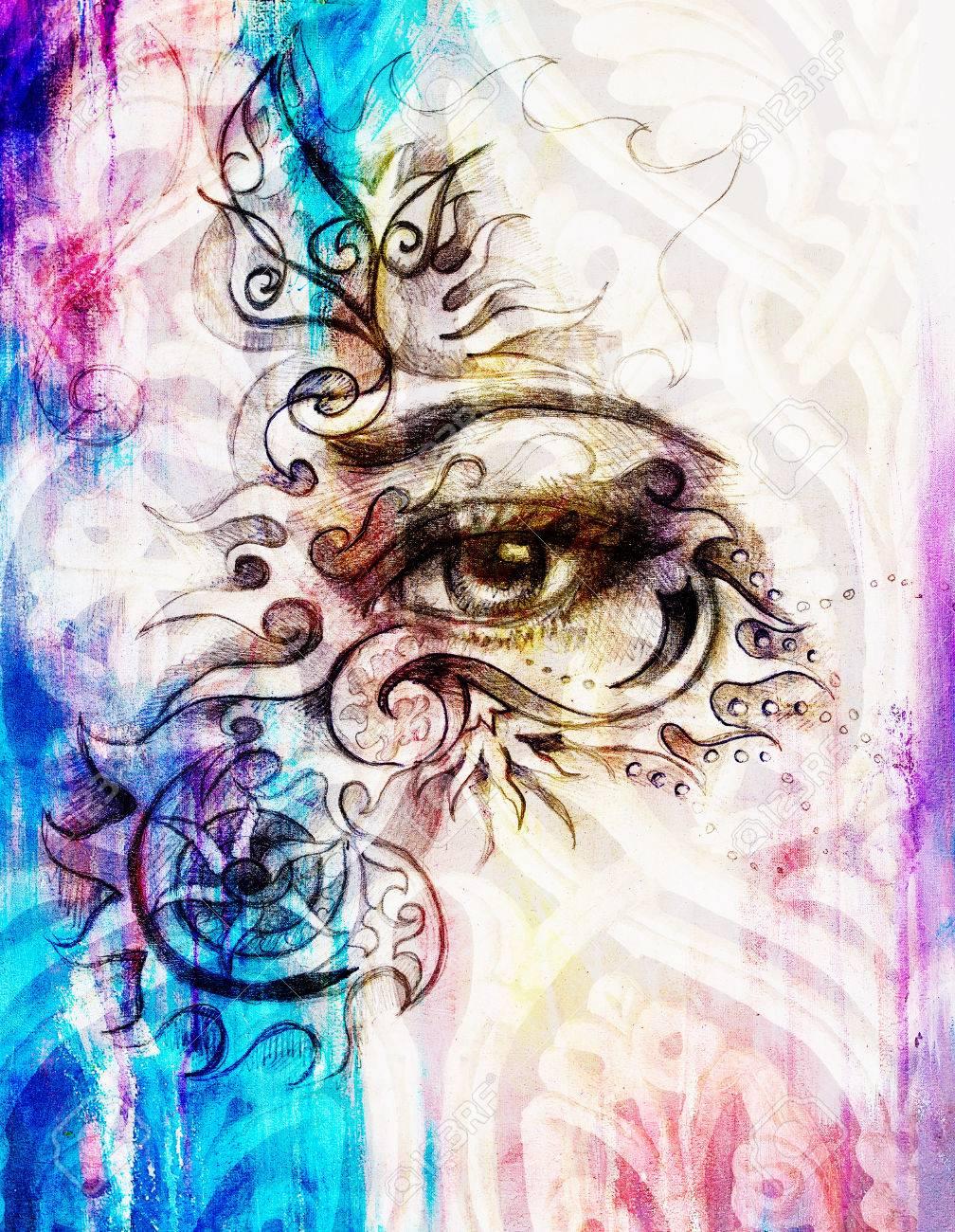 Ojo De La Mujer Con El Ornamento Dibujo De Lápiz El Contacto
