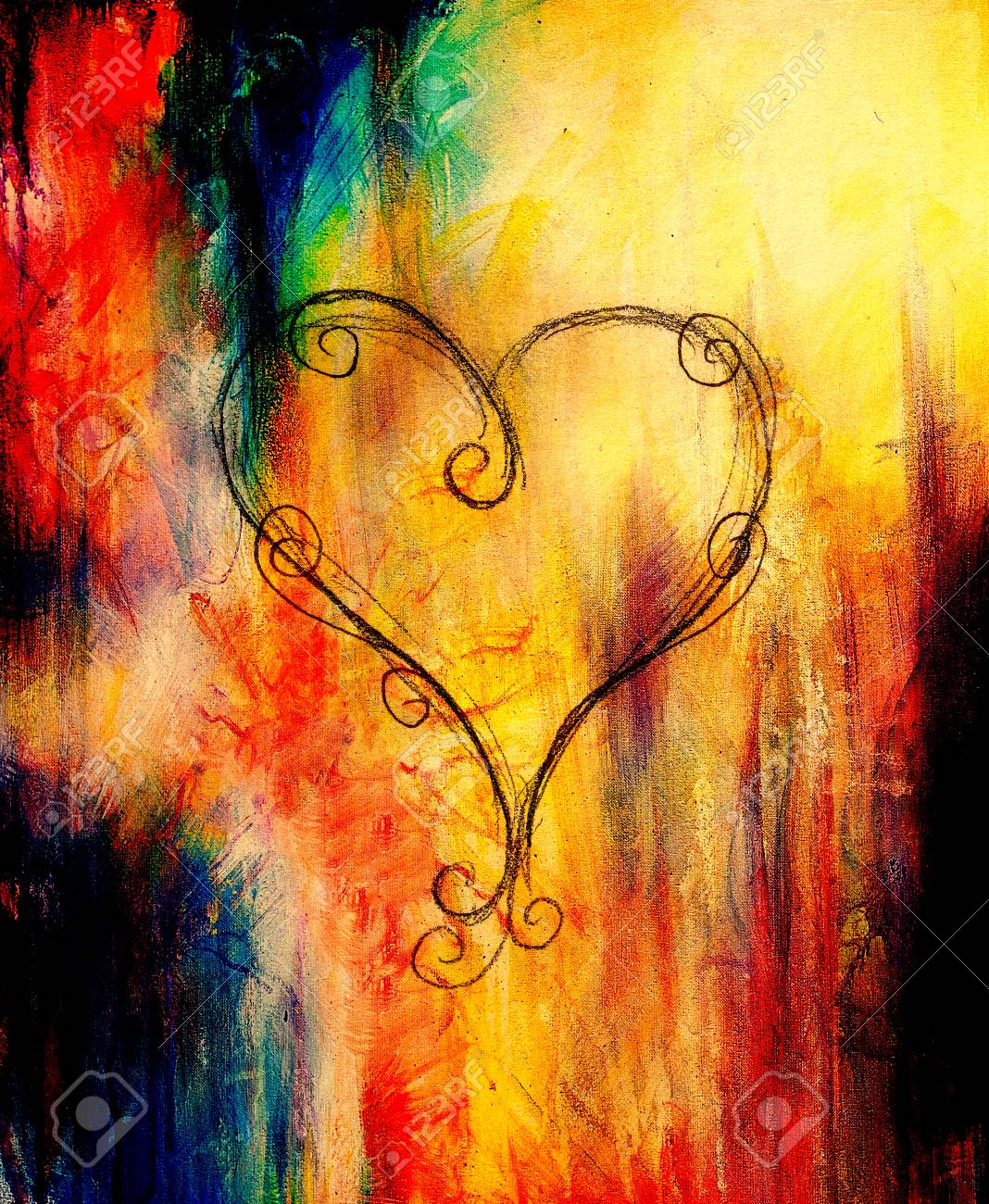 Heart drawing pencil sketch on old paper color effect stock photo 60024576