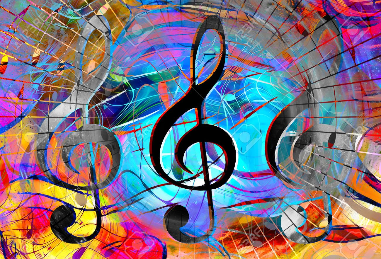 music notes and clef in space with stars  abstract color background