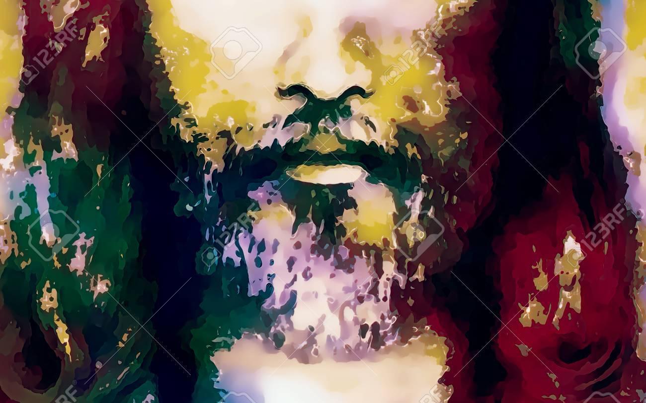 Detalle De La Cara De Jesús, Collage De Colores De Fondo Fotos ...