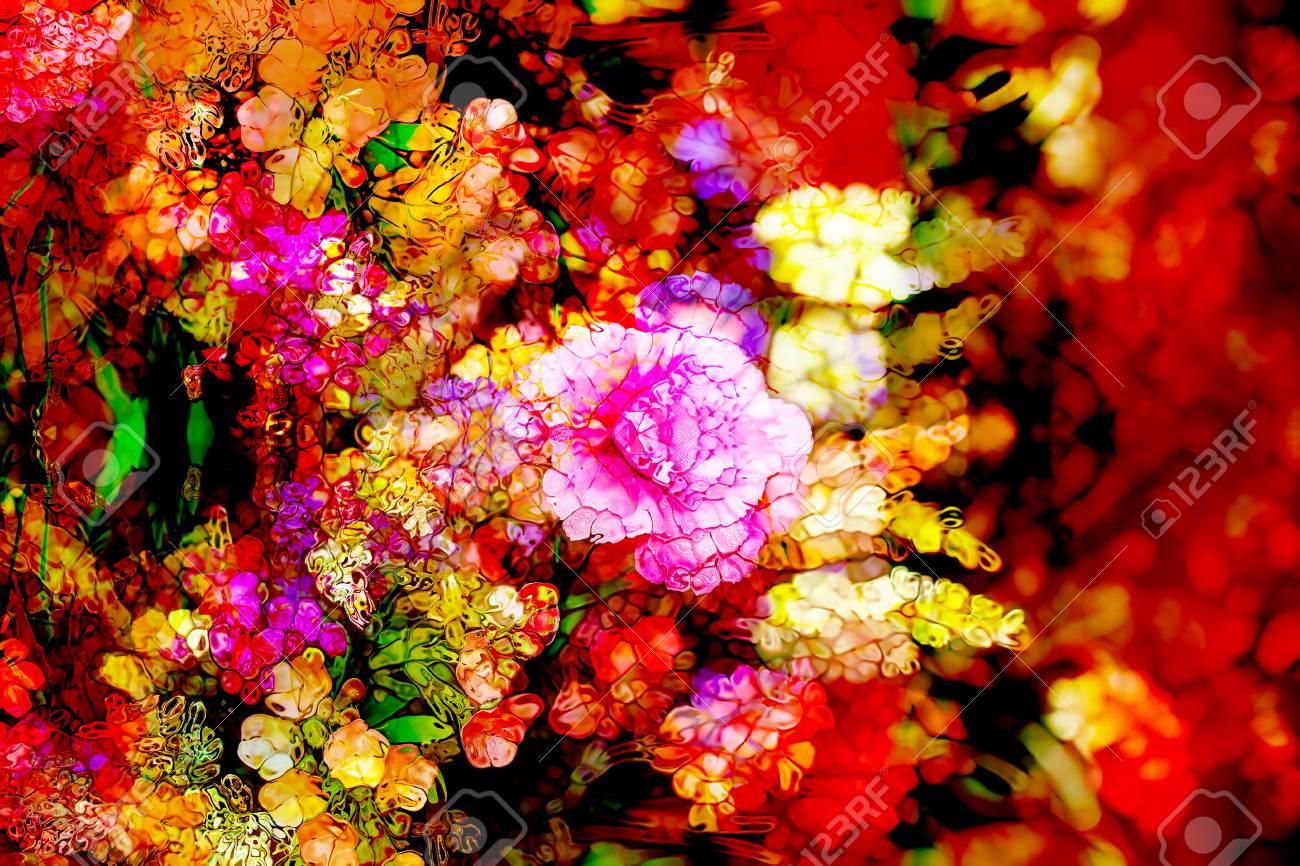 花と抽象的なカラフルなデザイン...