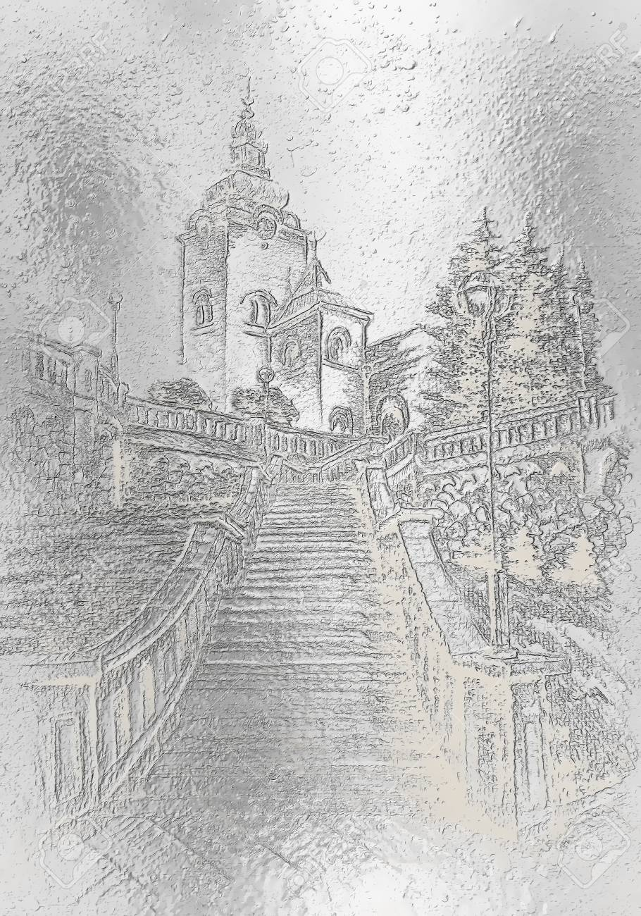 Church and staircaise pencil drawing on paper metalic effect stock photo 70535851