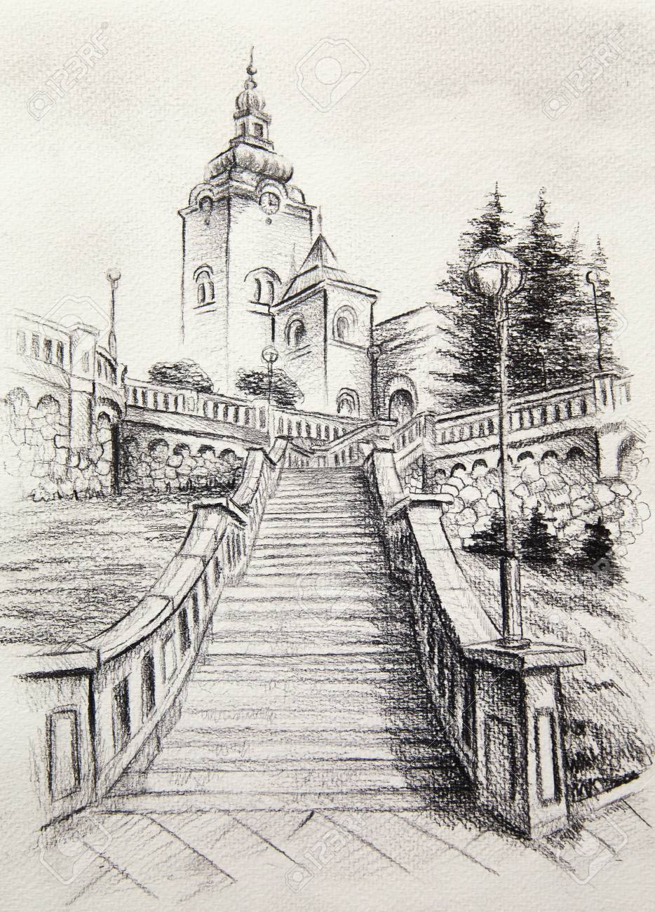 Church dominant in the old town pencil drawing on paper stock photo 70536924