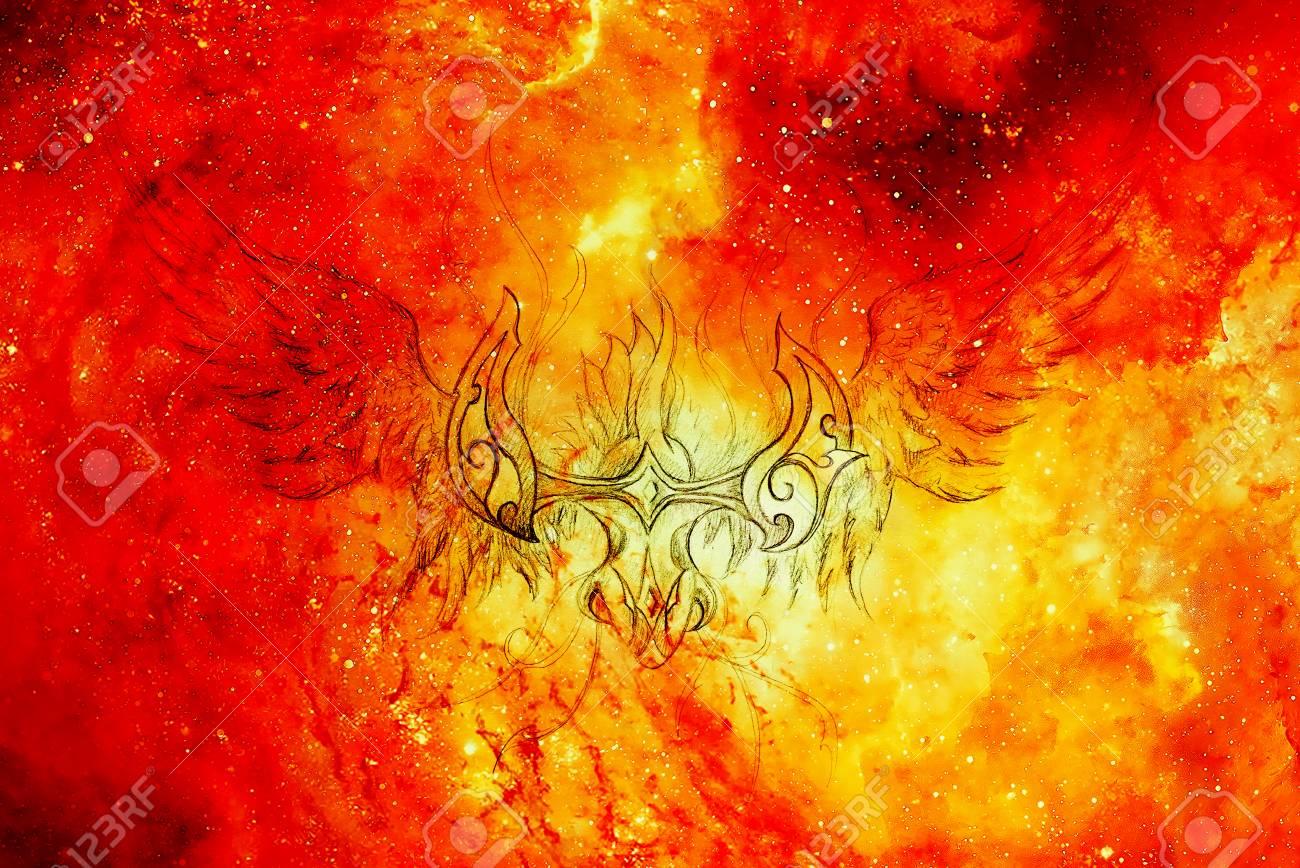 Drawing Of Ornamental Phoenix In Cosmic Background Fire Effect