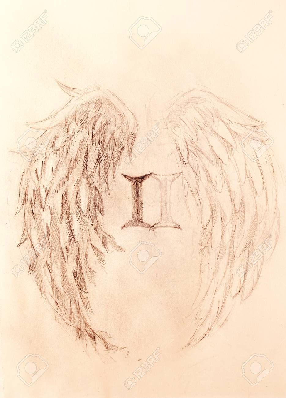 Pencil drawing on old paper angel wings and rome number sepia color stock