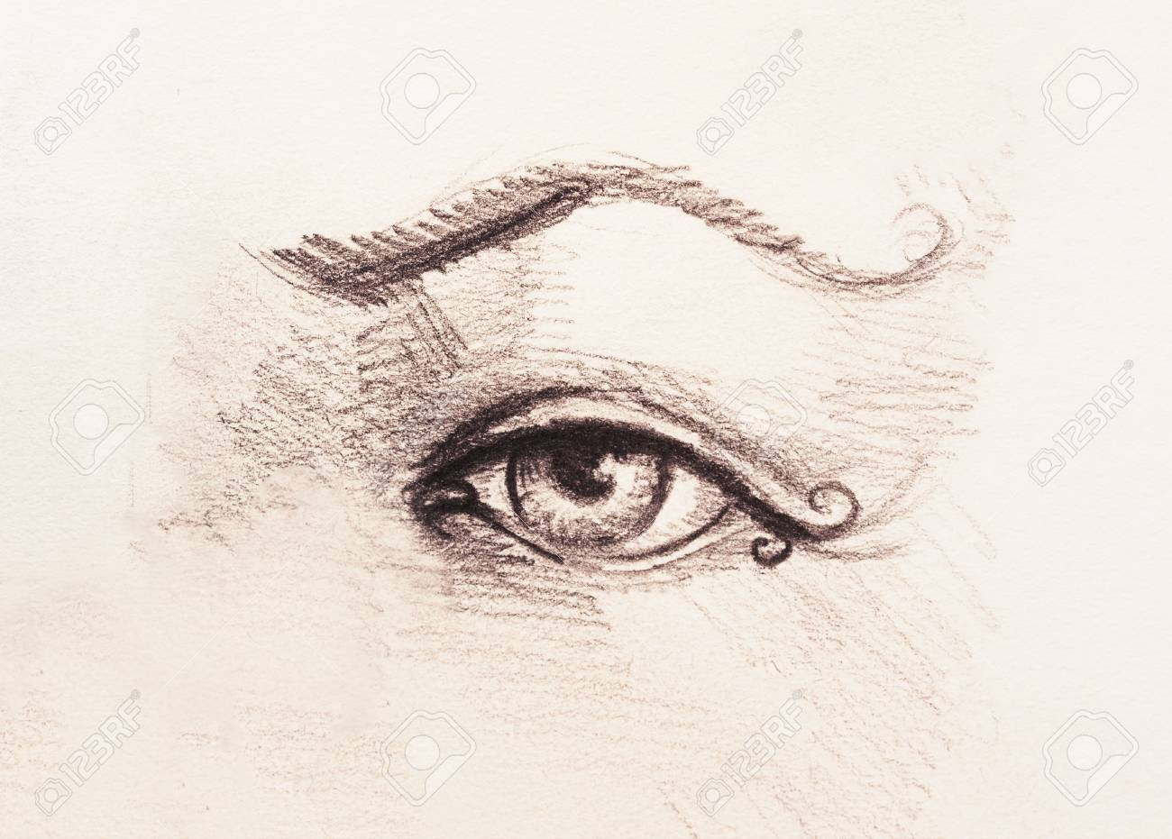 Banque dimages sketch of woman eye with eyebrow drawing on abstract background