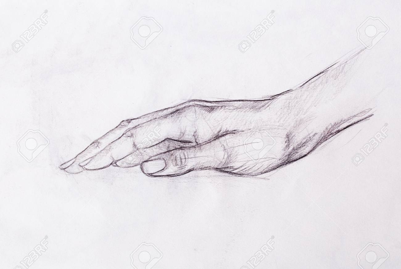 Drawing hand pencil sketch on old paper stock photo 75664215