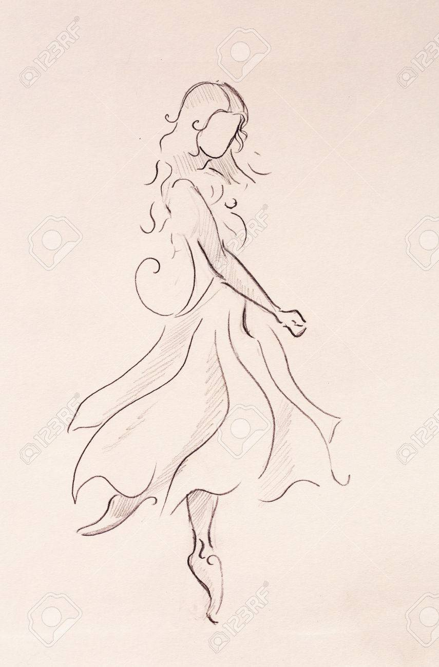 Standing figure woman pencil sketch on paper stock photo 75664296