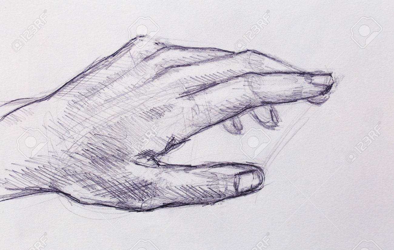 Drawing hand pencil sketch on old paper stock photo 75664391