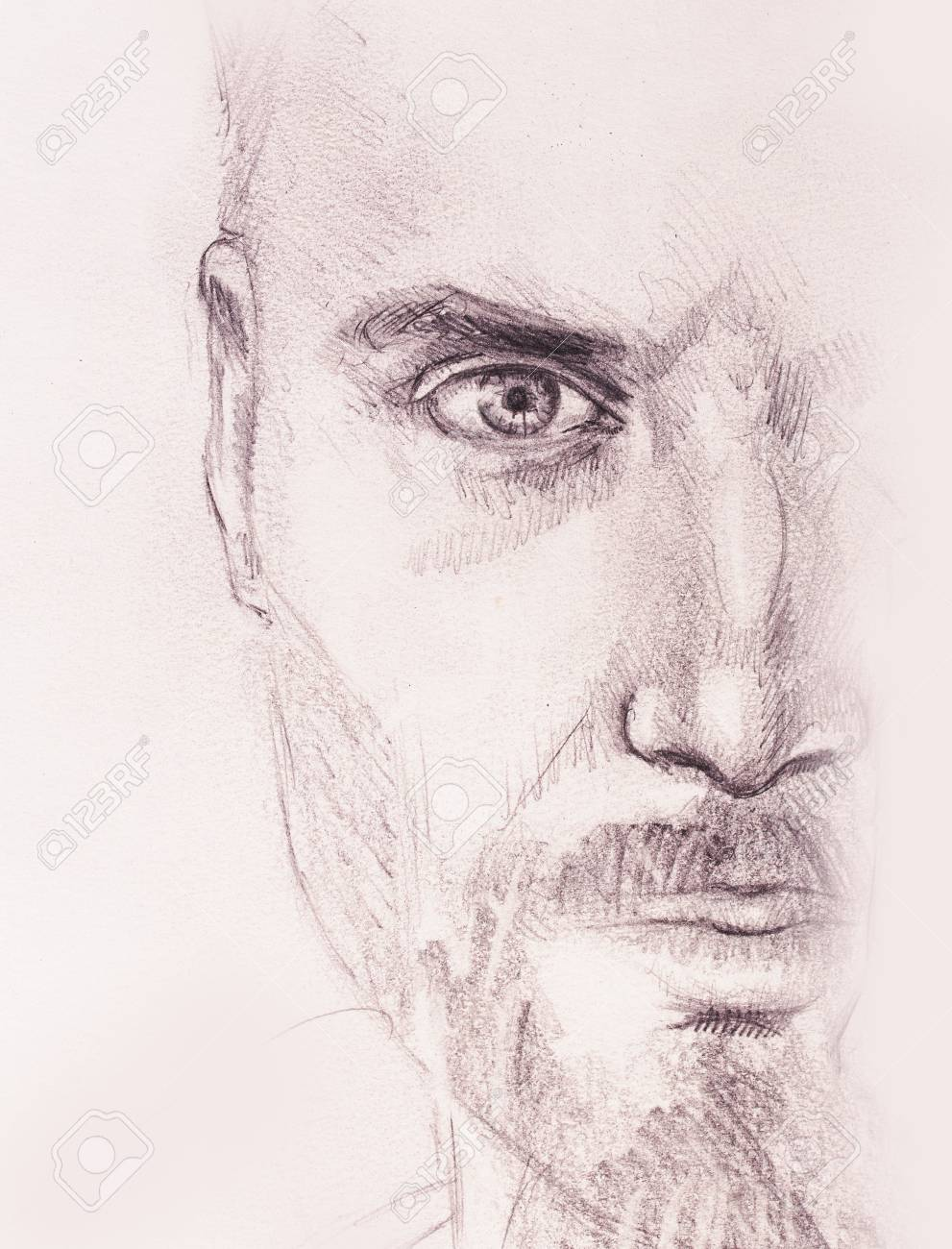 Mystic man pencil drawing on old paper stock photo 76055758