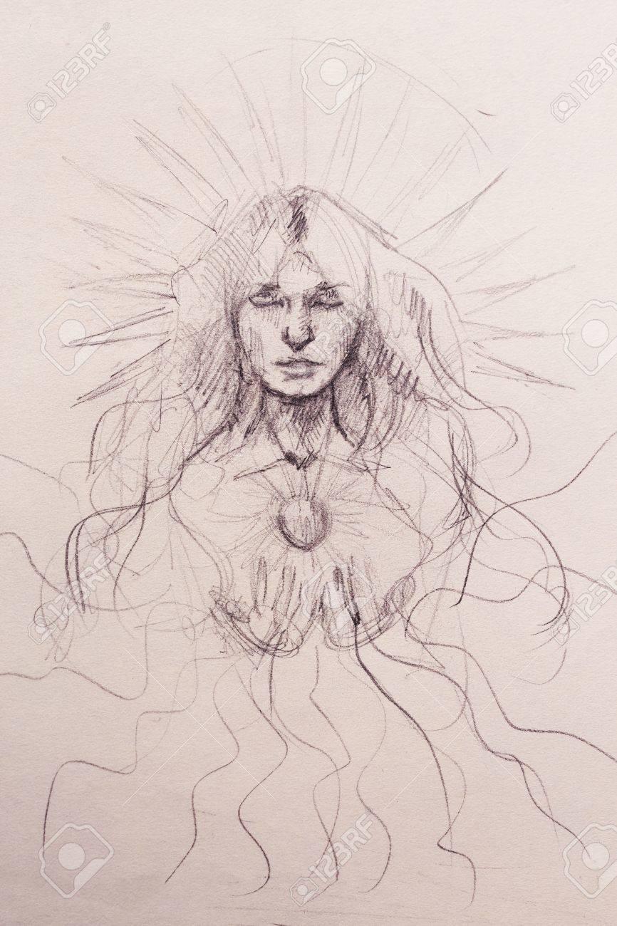 Femme Mystique Mediter Dessin Au Crayon Sur Papier Vieux Banque D