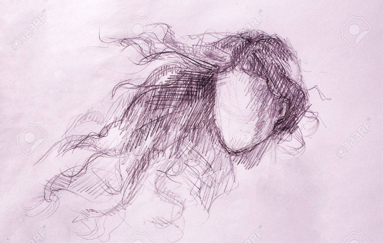 Sketch of woman and fluttering hair pencil drawing on old paper stock photo
