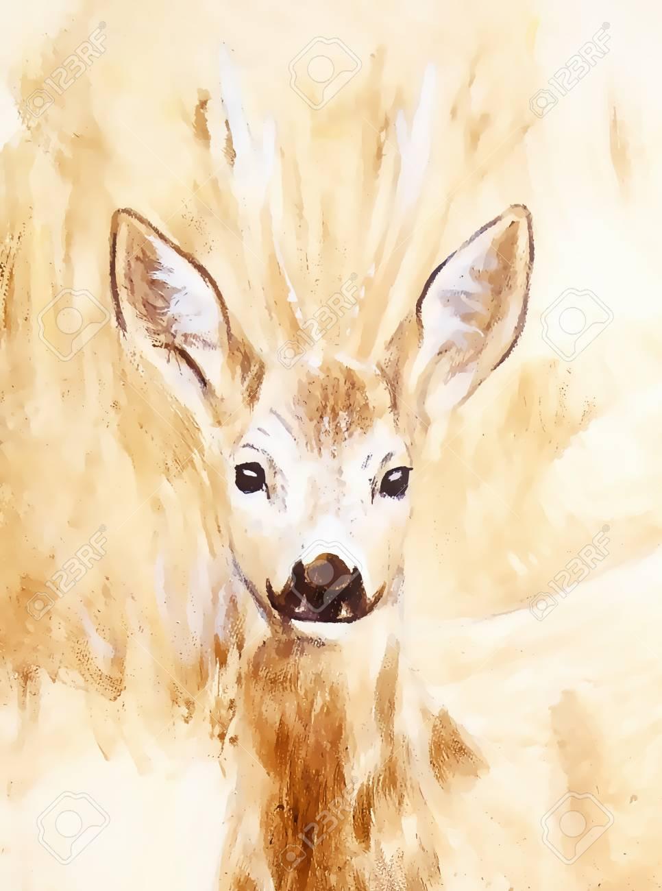 Peinture De Jeunes Cerfs Dans Un Paysage Sauvage Avec Des Hautes