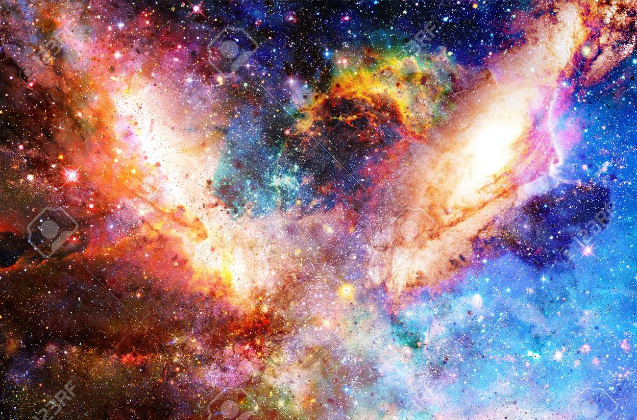 Cosmic Galaxy And Stars, Color Cosmic Abstract Background Stock