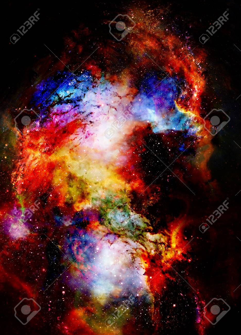 Galaxie Cosmique Et étoiles, Couleur Abstrait Cosmique. Banque D