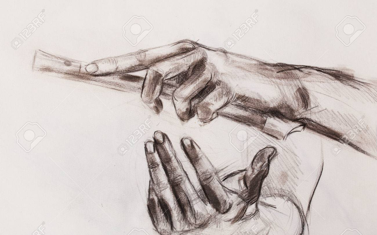 Drawing hand and flute pencil sketch on paper stock photo 80025793