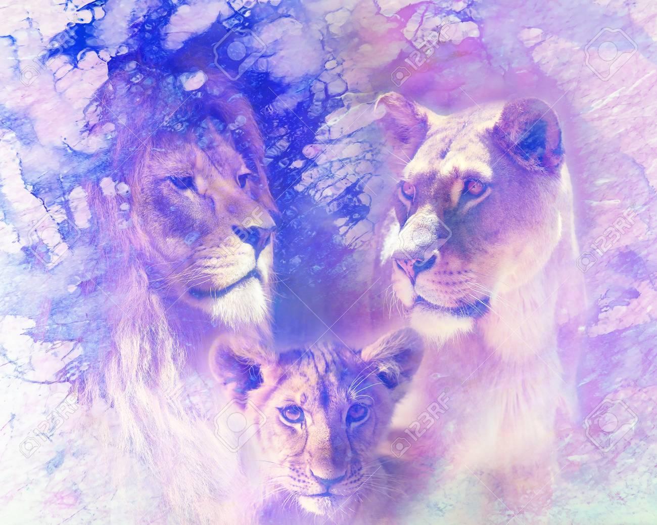 Famille De Lion Lion Lionne Et Lionceau Sur Fond Structure Abstrait Effet De Marbre