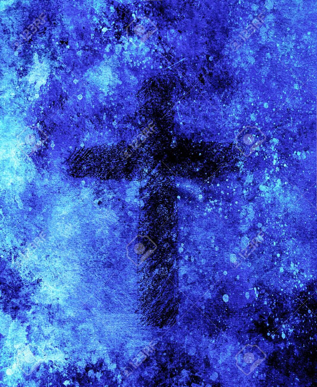 Simple Cross Symbol Pencil Drawing On Abstract Background Stock Photo Picture And Royalty Free Image Image 121475596