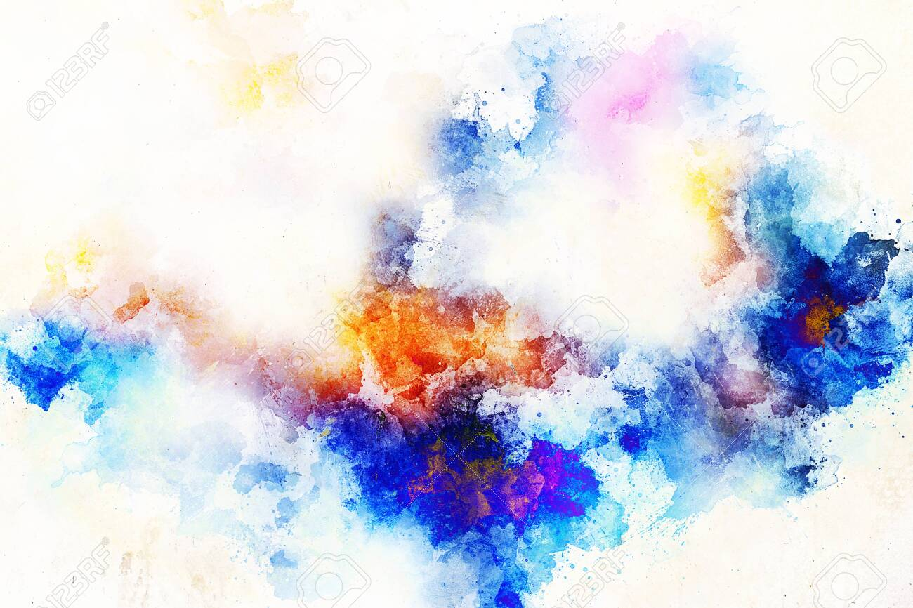 abstract color splashes and spots on white background. - 122719086
