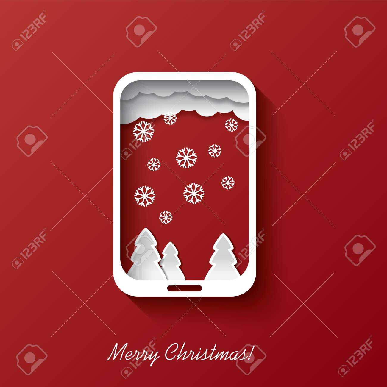 Christmas Card Concept Design In Smartphone Background Suitable ...