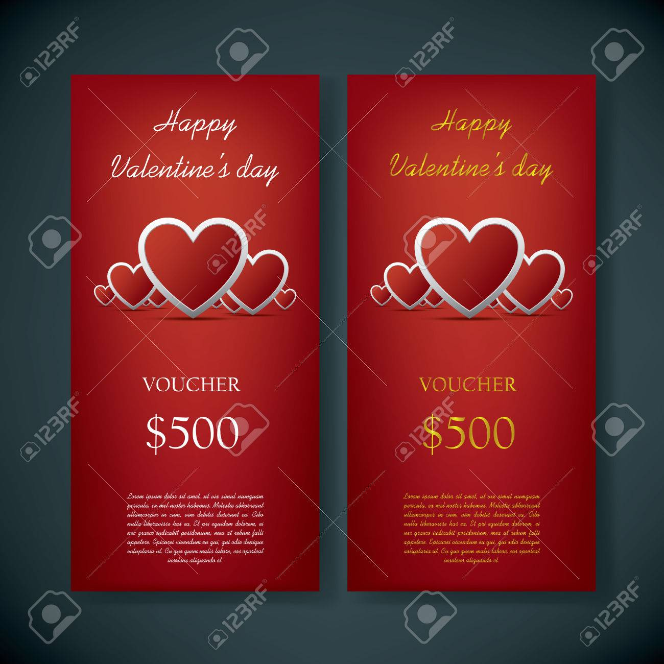 Valentine S Day Gift Card Voucher Template With Traditional