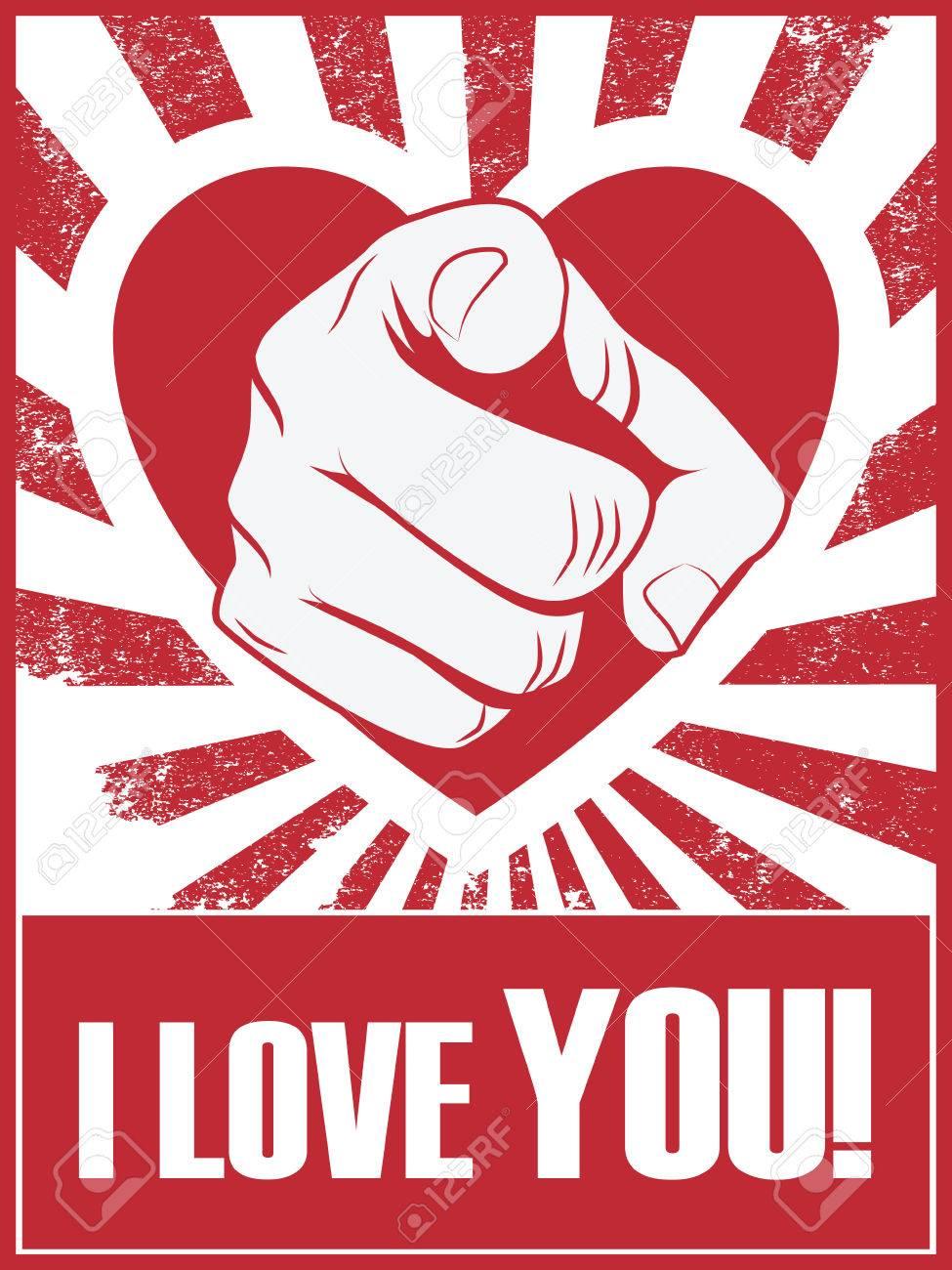 Valentinstag Lustig Poster Oder Postkarte Mit Hand Zeigt Und Liebe