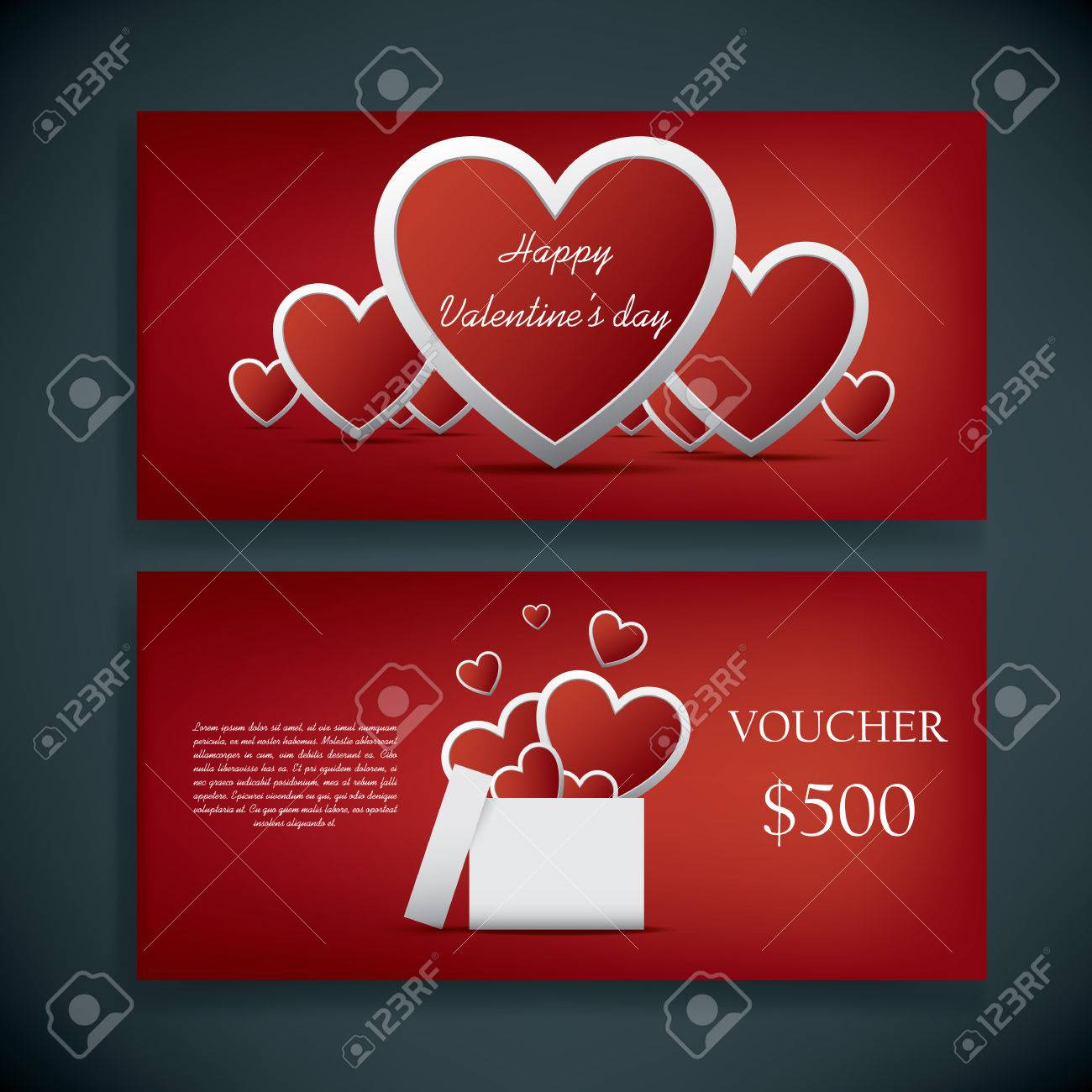 valentine's day gift card voucher template with traditional, Ideas