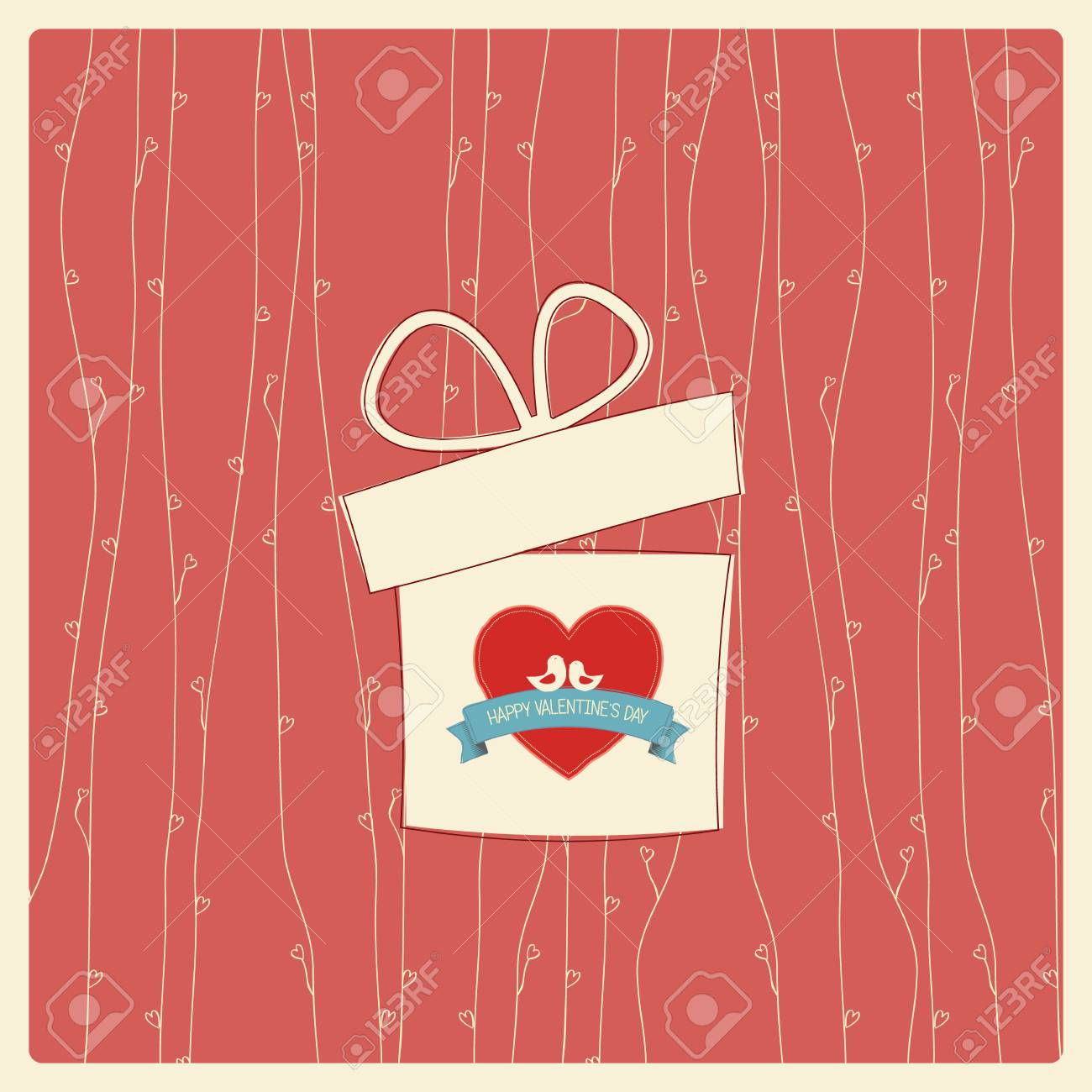 Vintage Valentine\u0027s day card with soft colors and simple hand..