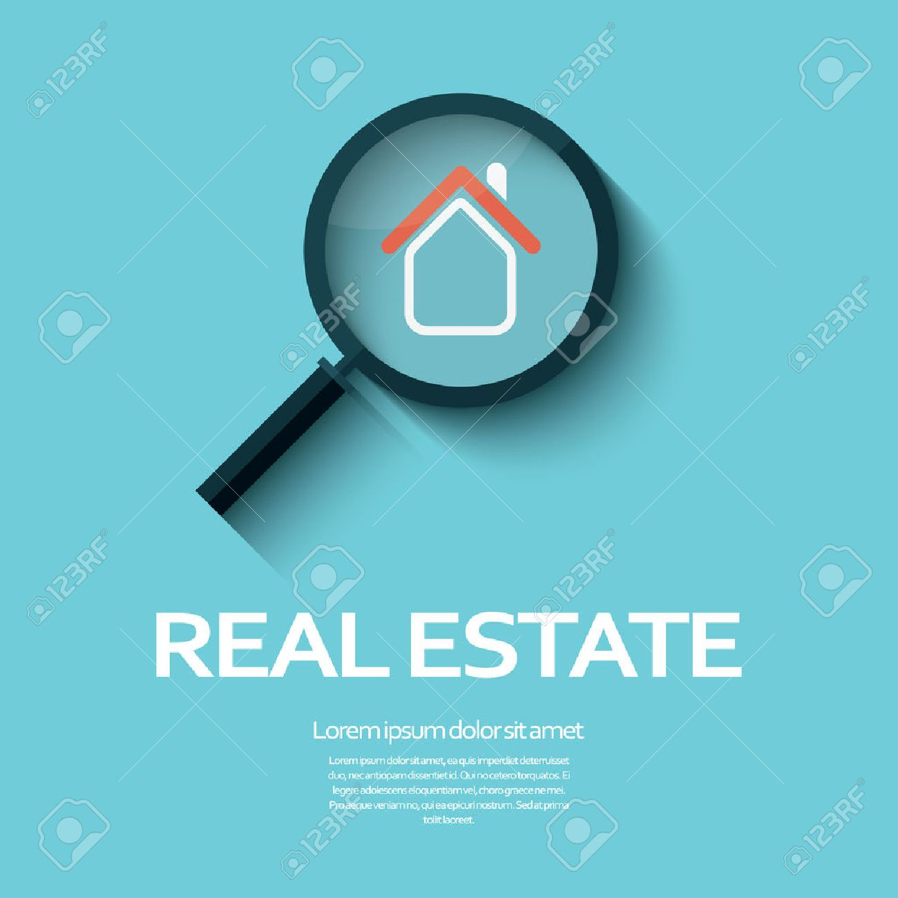 Immobilien Symbol Für Ein Haus Unter Lupe. Geeignet Für Plakate ...