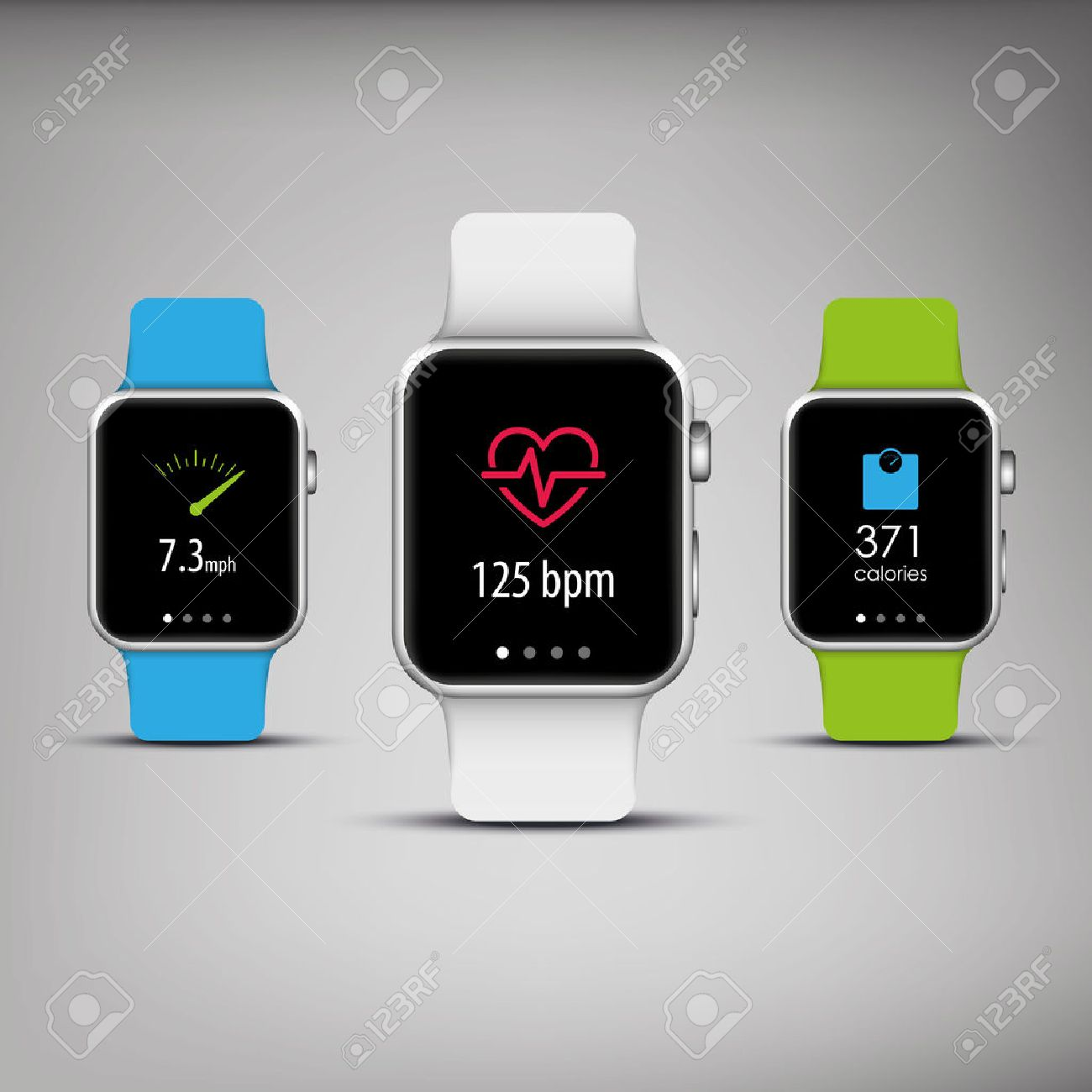 fitness tracker in elegant design with colorful bands and apps