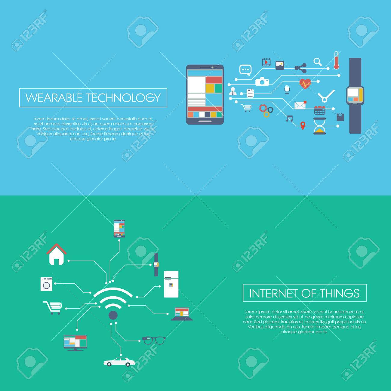 Internet of things concept vector illustration with icons for smart devices in household, technology, communication. - 36304389